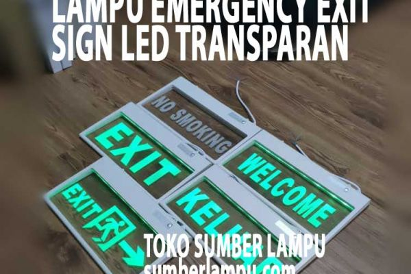 lampu emergency exit transparant