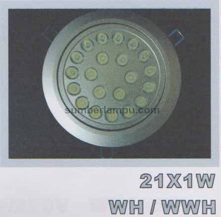 Lampu downlight LED 21x1w WH / WWH
