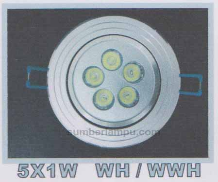 Lampu downlight LED 5x1w WH / WWH