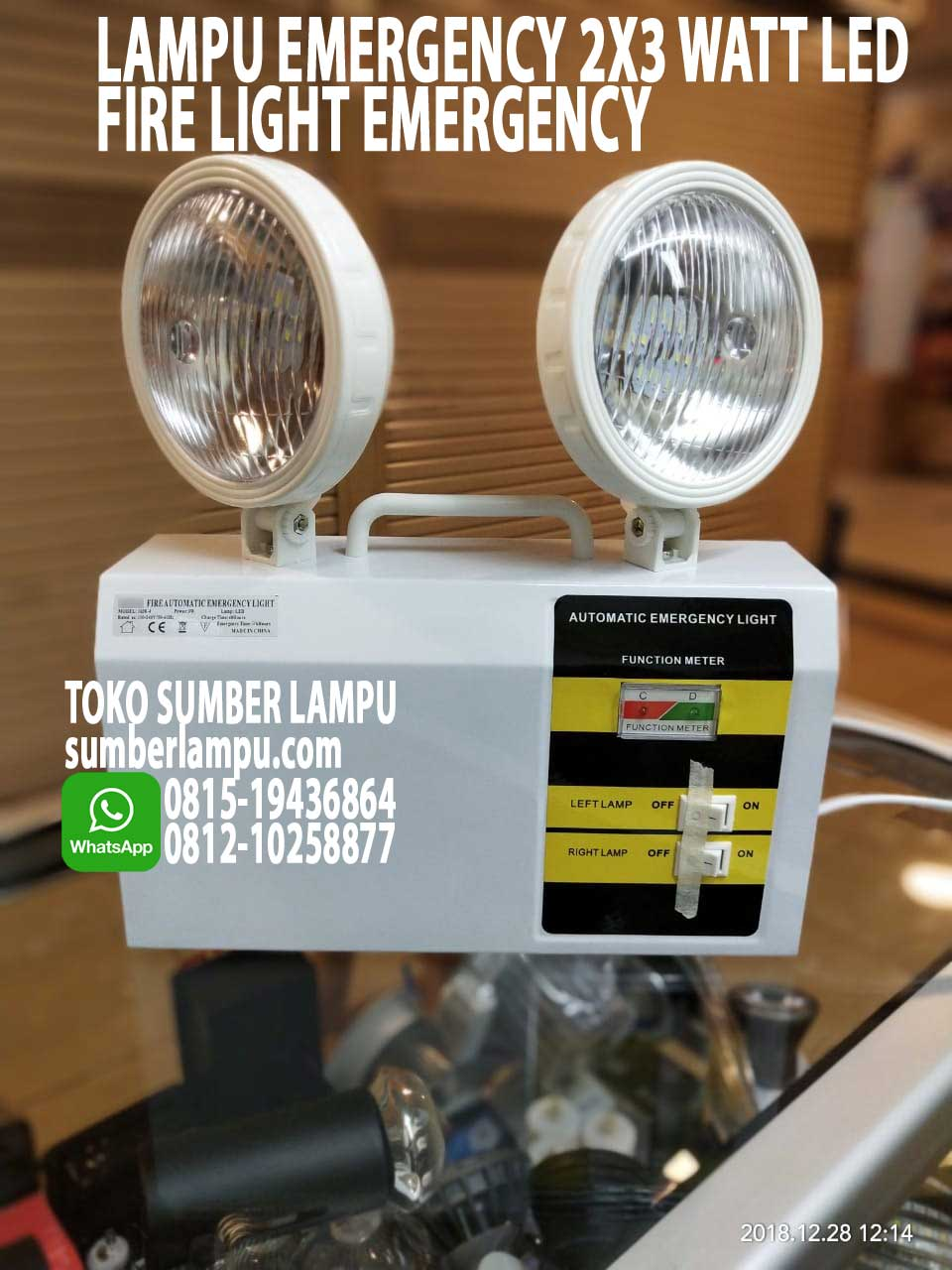 lampu emergency 2x3 watt