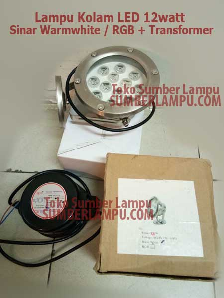 Lampu Underwater LED 12 watt RGB Warmwhite plus Transformer