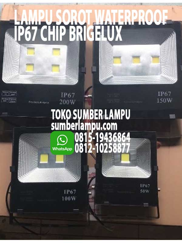 Lampu Sorot LED Waterproof IP67 50w 100w 150w 200w Chip Bridgelux