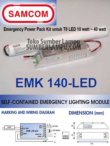 Samcom EMK-140-LED Emergency Module T8 LED